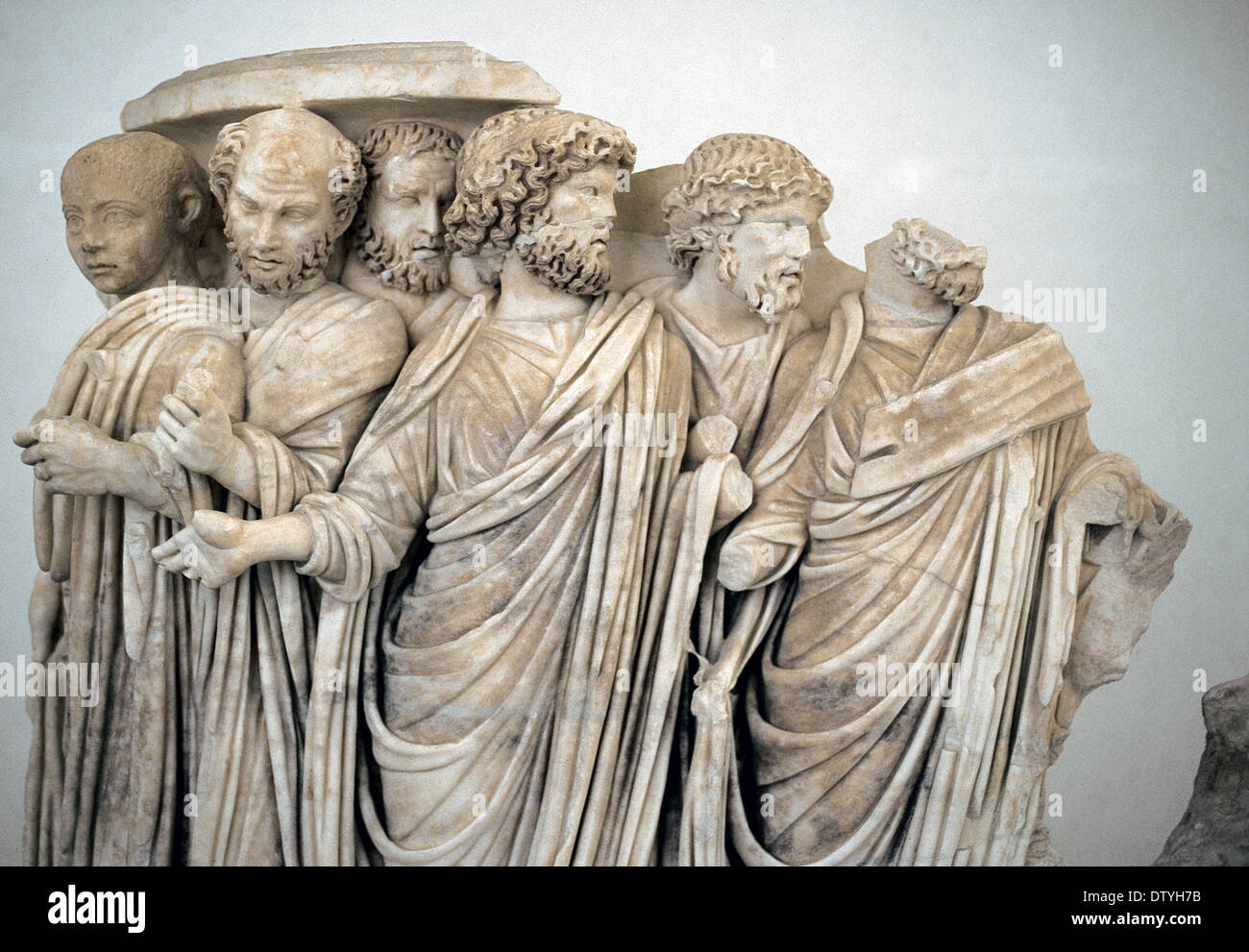 Roman Art. A lenos sarcophagus with processus consularis. Detail. Greek marble.  270 BC. Palazzo Massimo Alle Terme. Stock Photo