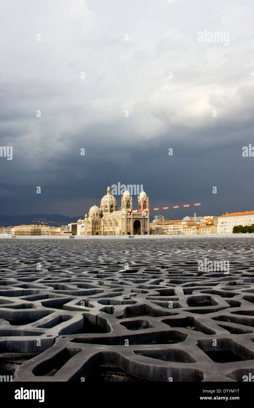 Marseille Cathedral (Sainte-Marie-Majeure) viewed from the top of the Museum of European and Mediterranean Civilisations (MuCEM). - Stock Image