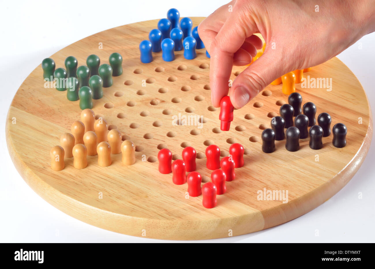 chinese checkers and wood board Stock Photo