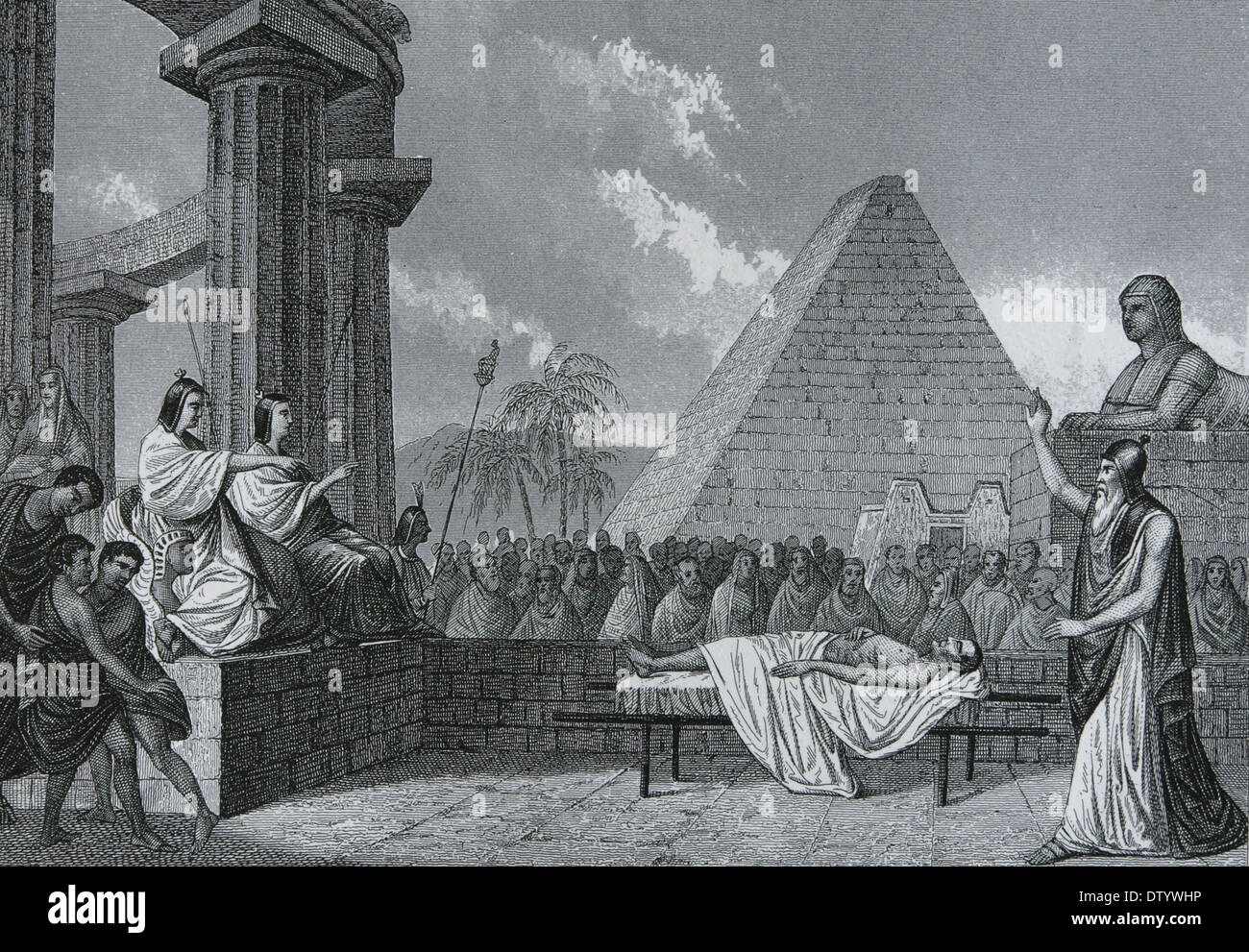 Egypt. court of the dead. Ancient Times. Engraving. Iconographic Enclyclopaedia of science, Literature and Art. 19th century - Stock Image
