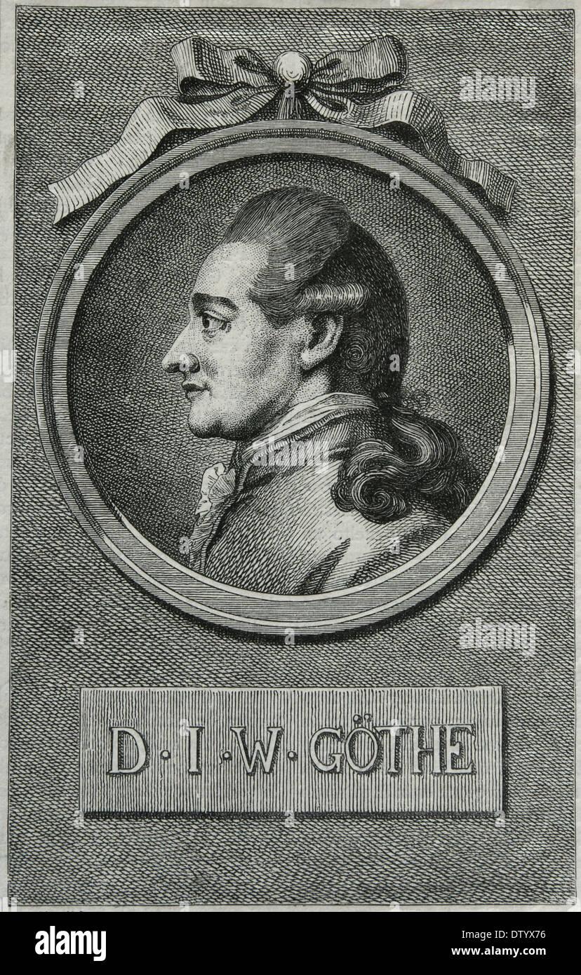 Johann Wolfgang von Goethe (1749-1832). German Writer and polymath. Romanticism. Engraving by E. Krell. Universal History. - Stock Image