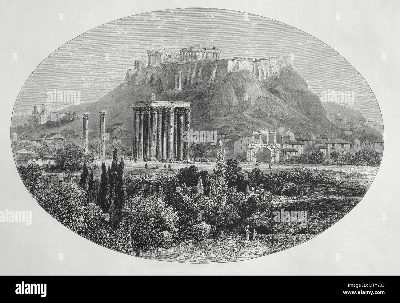 Greece. Athens. Temple of Jupiter and Acropolis Athens. Wood engraving by Edward Whymper, 1879. - Stock Image