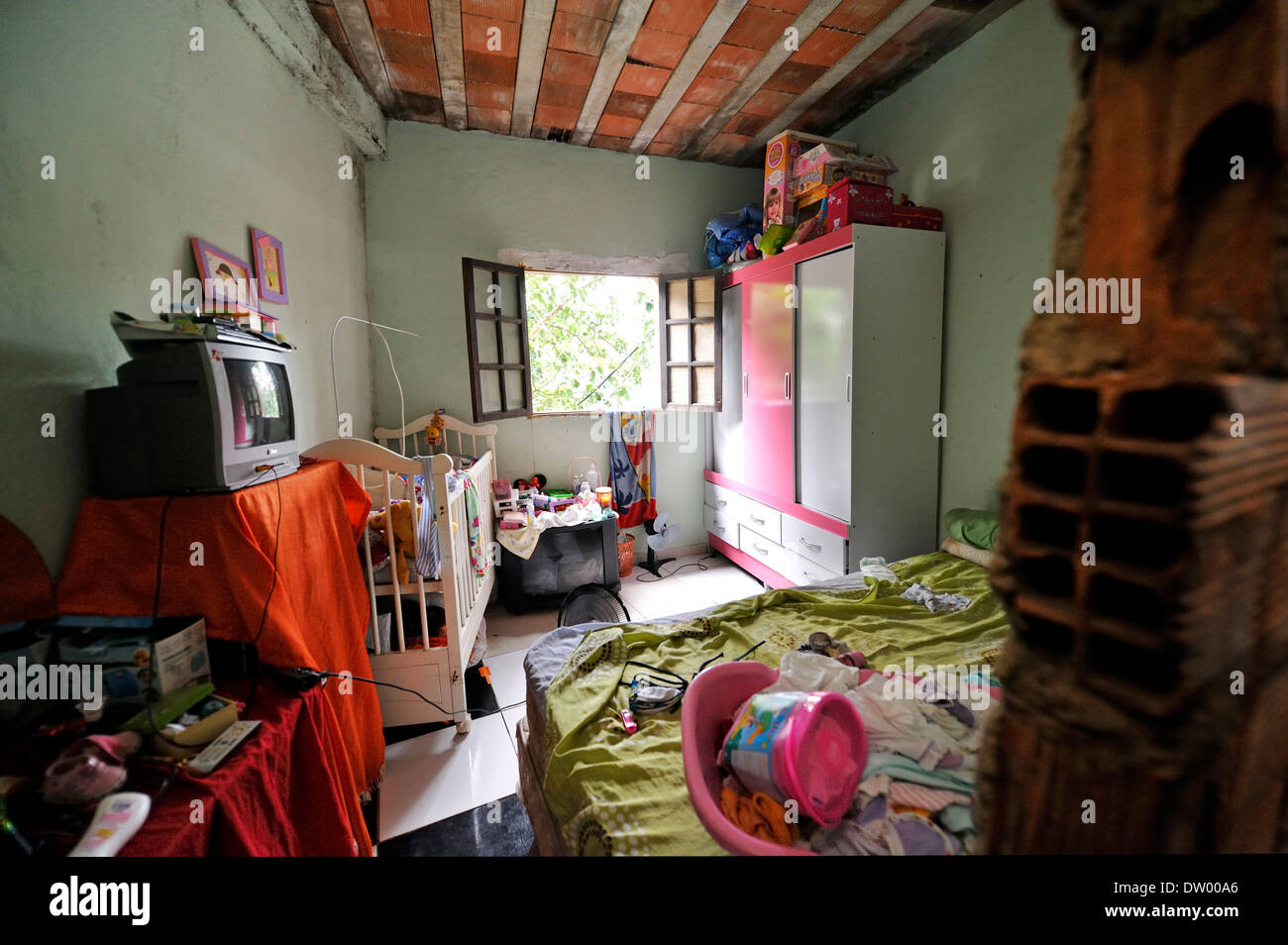 Brazilian Homes Interior View Of A Home Bedroom In The Slums Favela