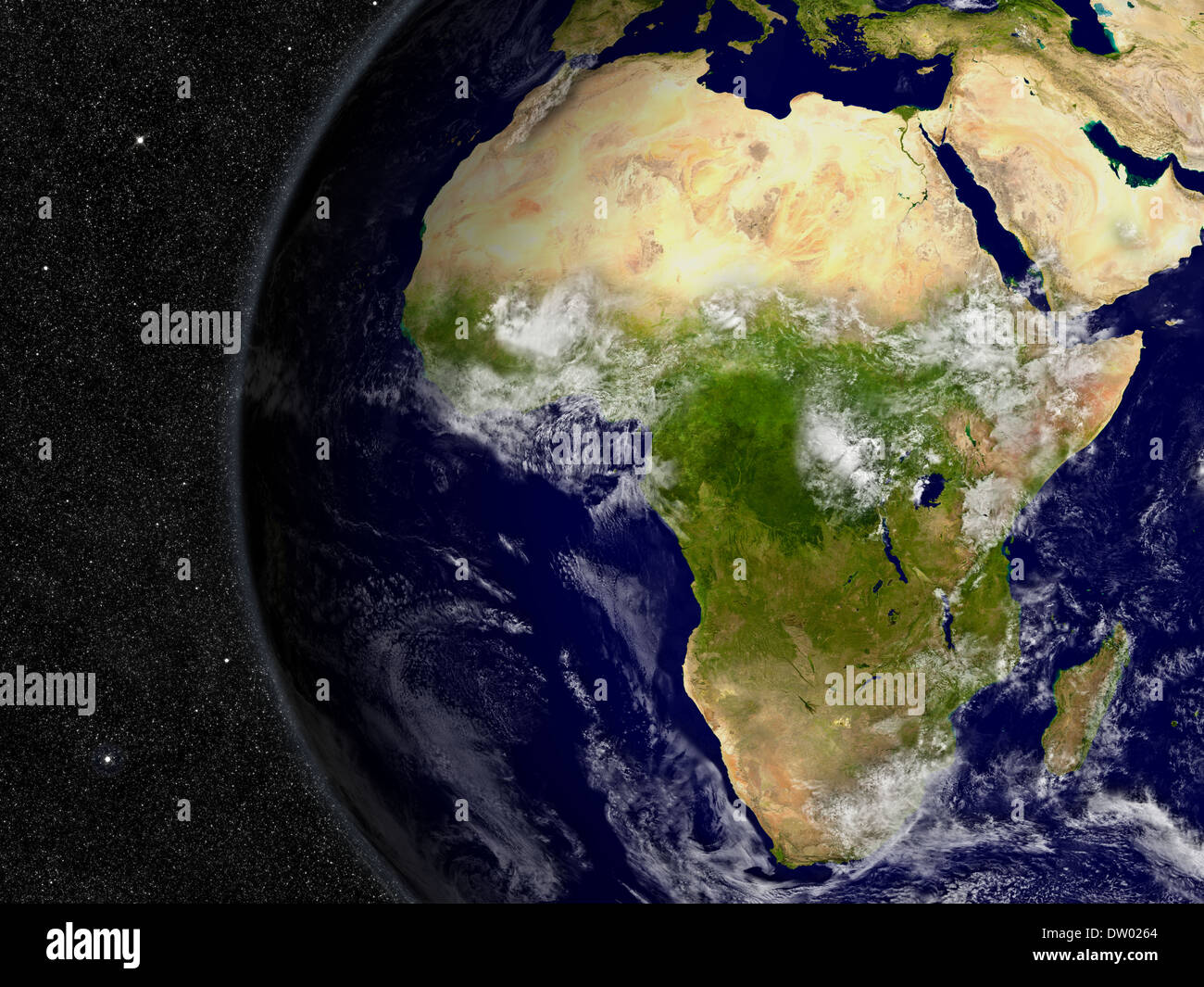 Africa region on planet Earth from space with stars in the background. Elements of this image furnished by NASA. - Stock Image