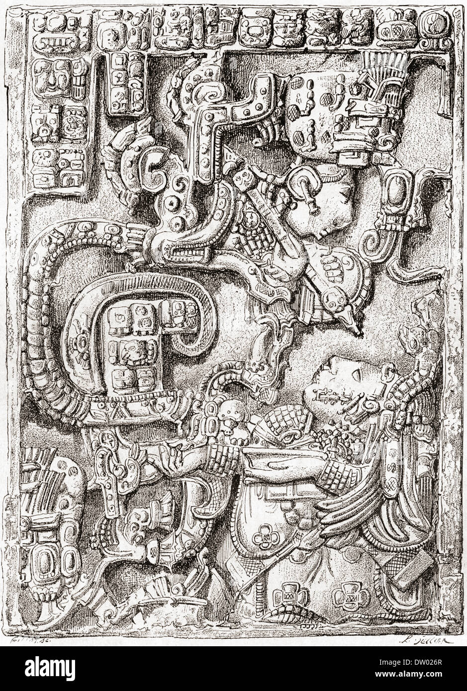 Lintel 25 of Yaxchilan Structure 23 from the ancient Mayan city of Yaxchilan, Chiapas, Mexico. - Stock Image
