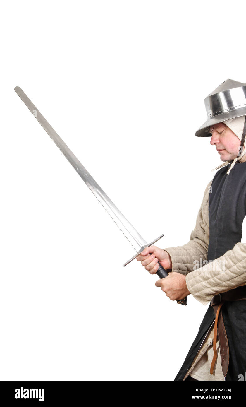 Medieval soldier with sword - Stock Image