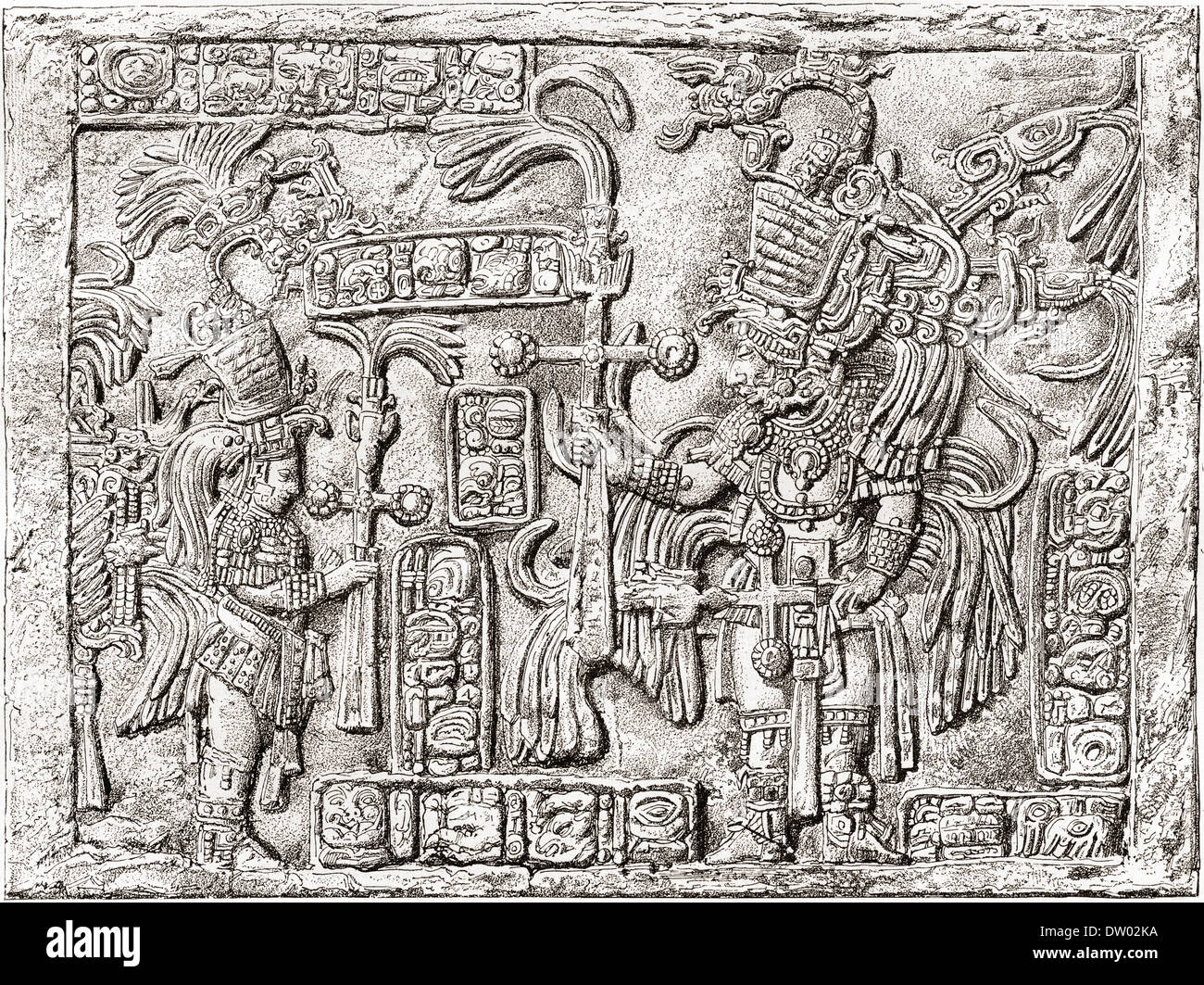 Decorative Lintel from the ancient Mayan city of Yaxchilan, Chiapas, Mexico. - Stock Image