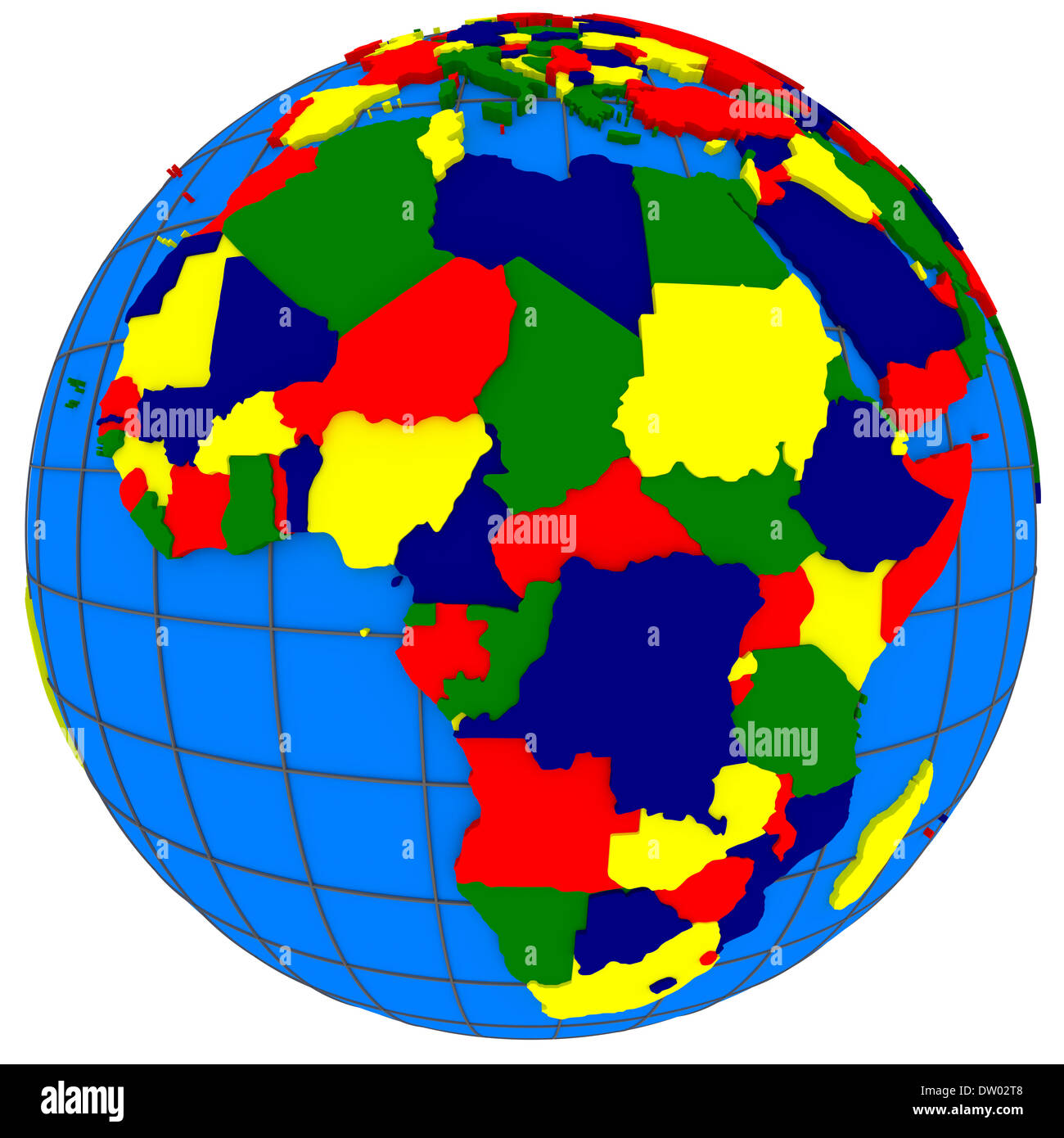 Africa, political map of the world with countries in four colors ...