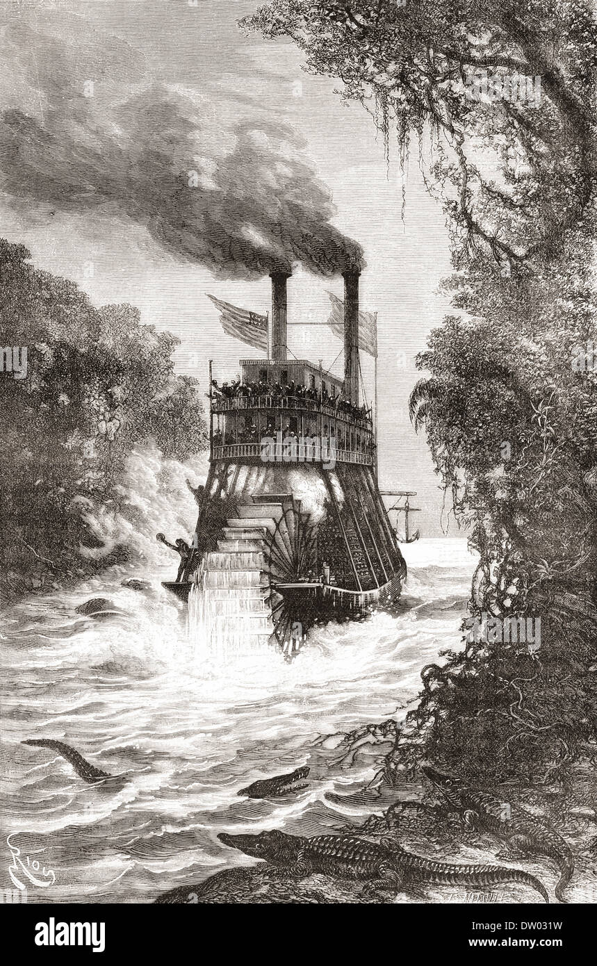 A paddle steamer in the Primera Angostura, a sound of the Strait of Magellan, Chile in the 19th century. - Stock Image