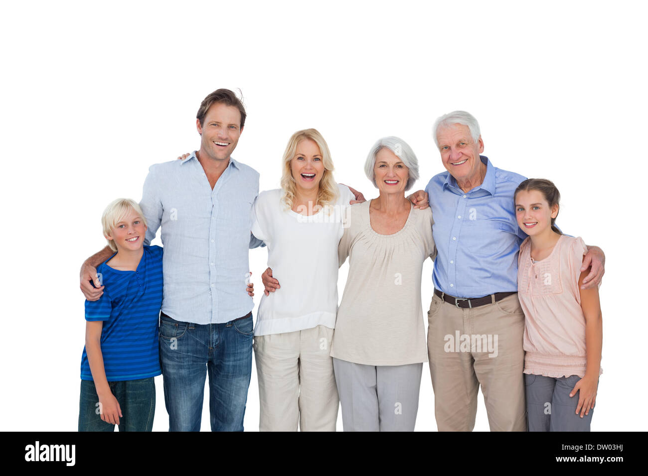 Extended family gesturing - Stock Image