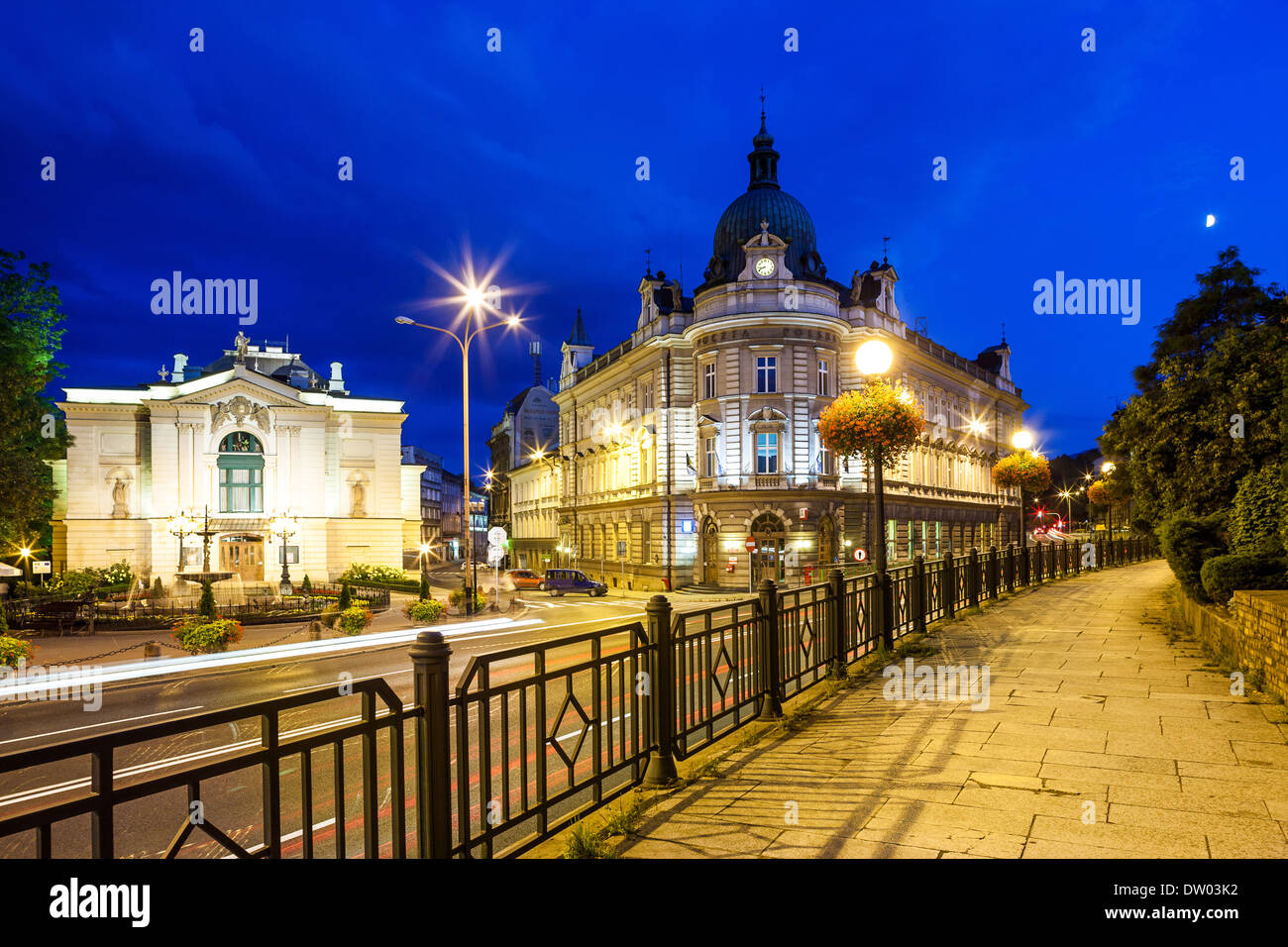 Night view on the theater and main post office in Bielsko-Biala, Poland - Stock Image