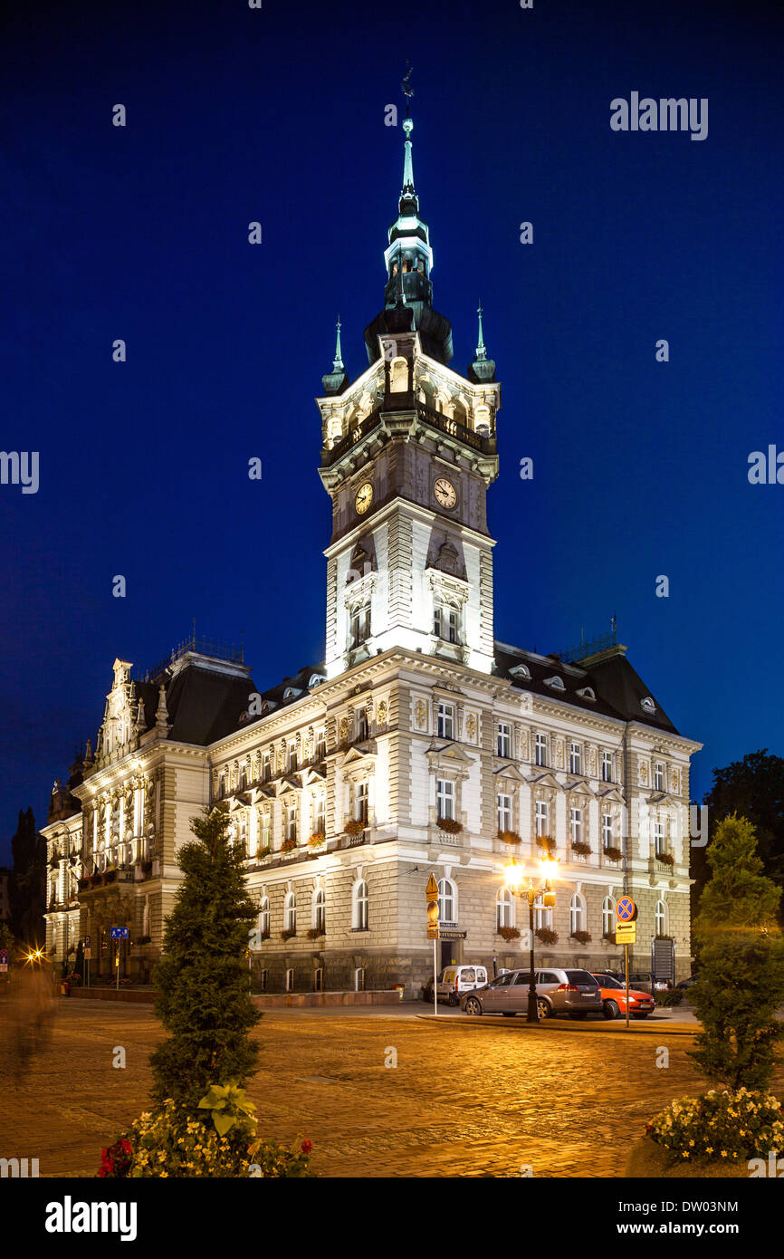 Night view of the Neo-Renaissance town hall in Bielsko-Biala, Poland - Stock Image