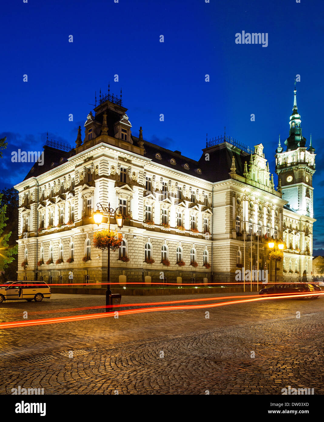 Night view of the Neo-Renaissance town hall in Bielsko-Biala, Poland. - Stock Image