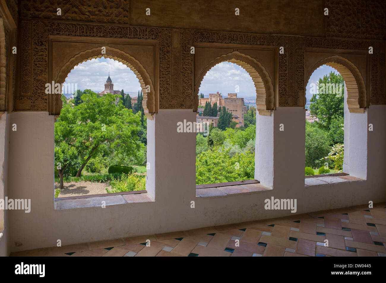 View of the Alhambra with palaces and gardens, UNESCO World Heritage Site, Granada, Andalusia, Spain - Stock Image