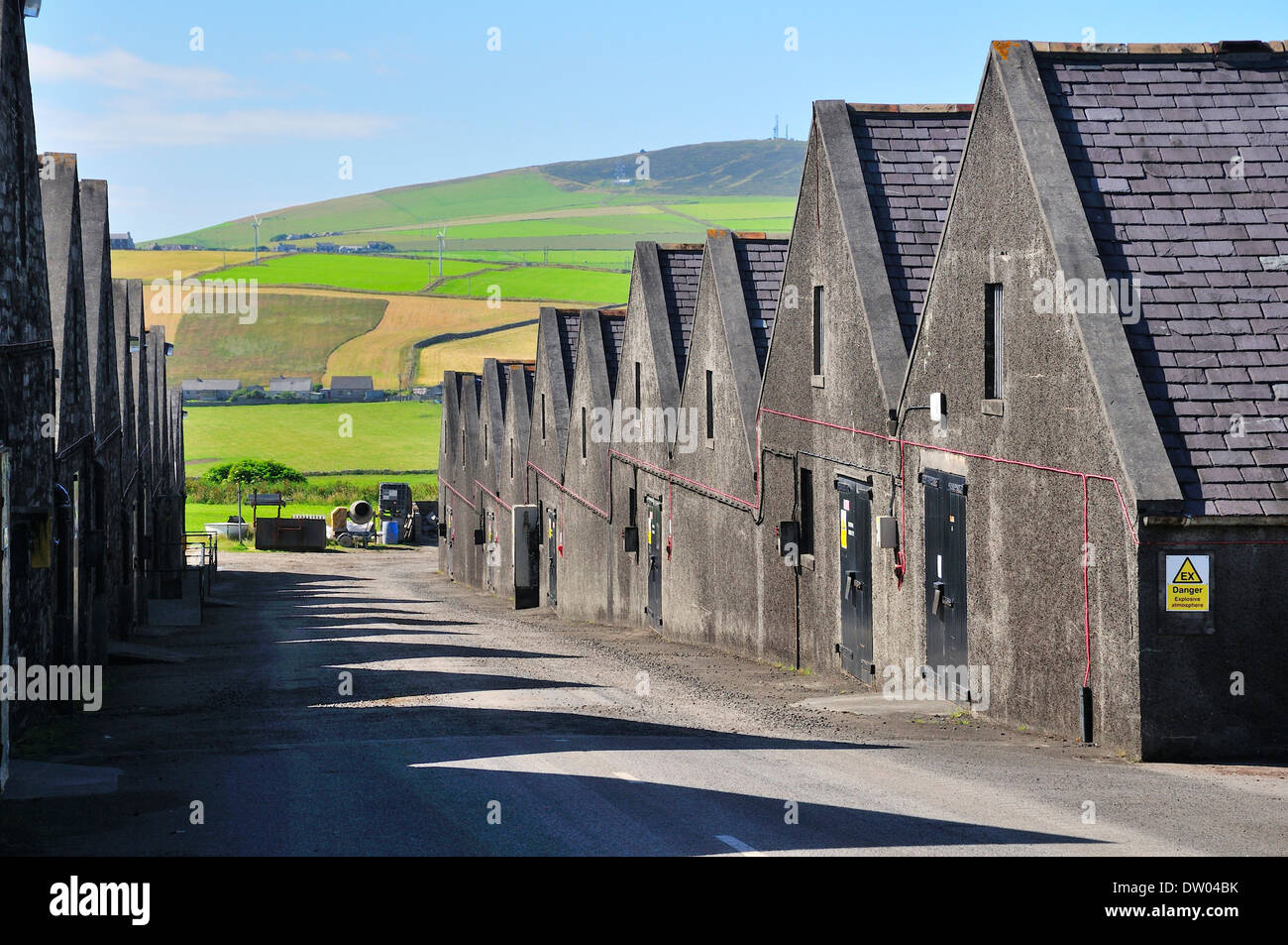 Warehouses of the Highland Park Distillery, whisky distilery, Kirkwall, Mainland, Orkney, Scotland, United Kingdom - Stock Image