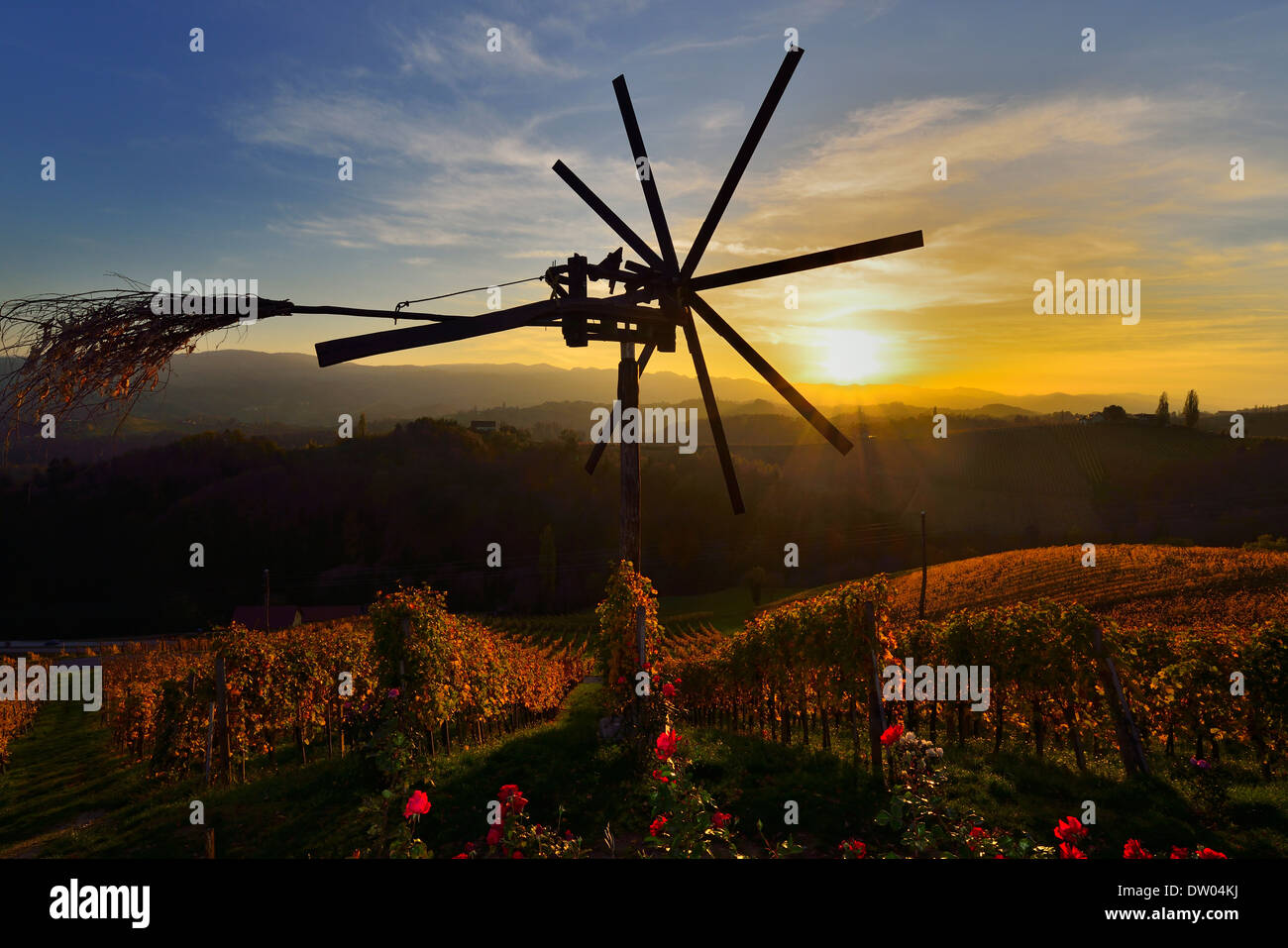 The Klapotetz, the South Styrian variant of a scarecrow, South Styrian Wine Road, Styria, Austria - Stock Image