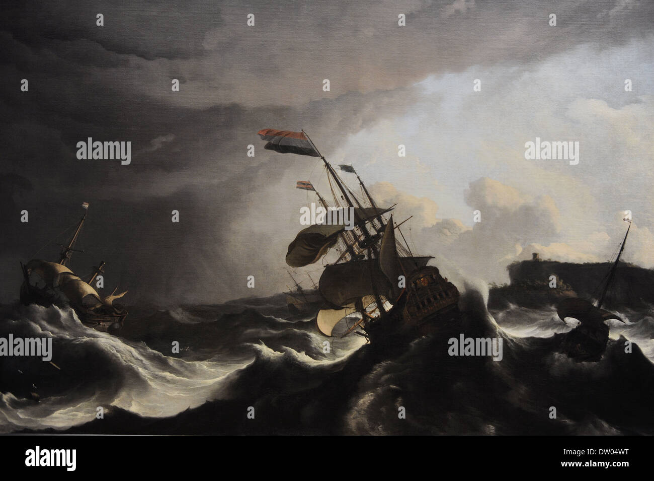 Ludolf Bakhuysen (1631-1708). Dutch painter. Warships in a Heavy Storm, c. 1695. Rijksmuseum. Amsterdam. Holland. - Stock Image