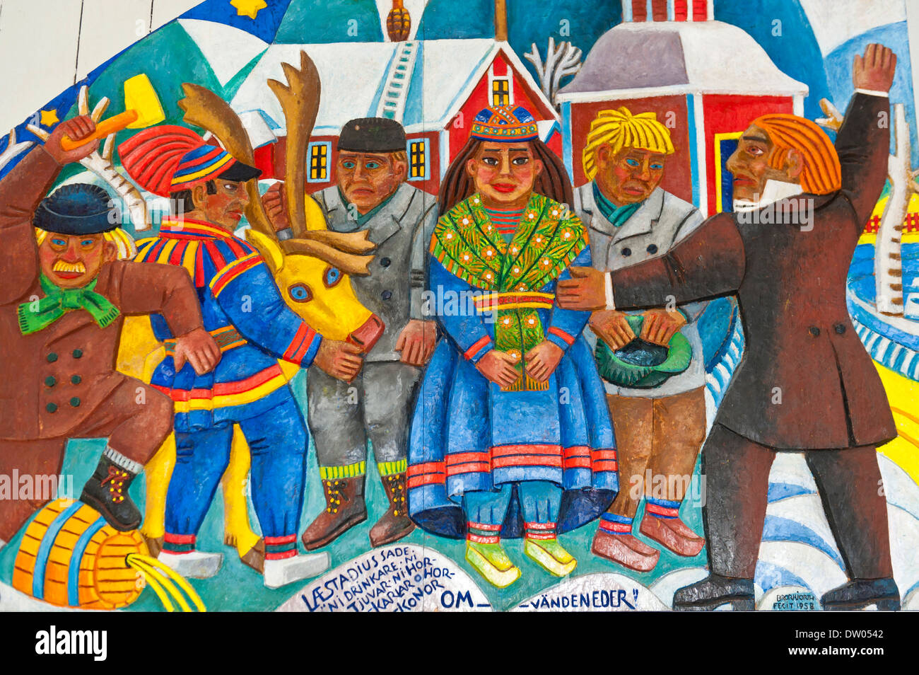Sami art, the daily life of the Sami people, colourful wood carving, Sami-Christian altarpiece designed by artist Bror Hjort in - Stock Image