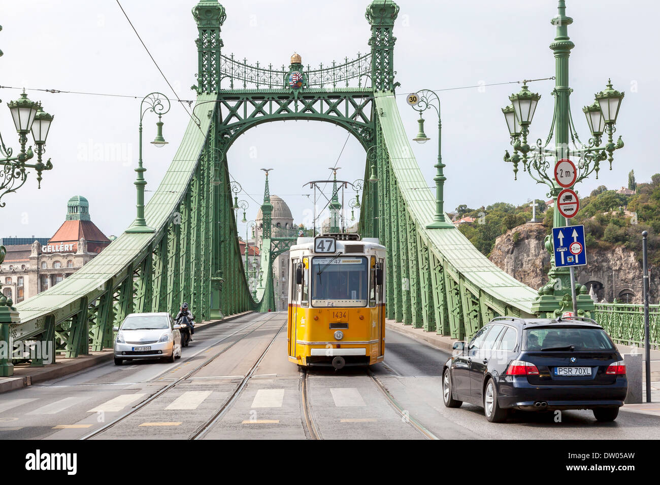 Liberty Bridge with tram, Budapest, Hungary Stock Photo