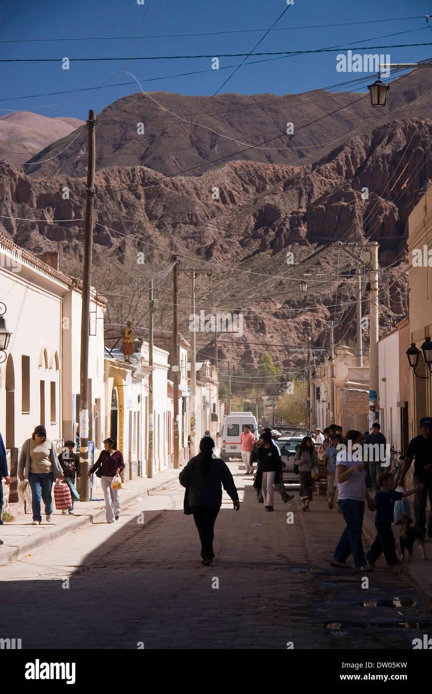 Tilcara street scene, Quebrada de Humahuaca, Jujuy, Argentine - Stock Image