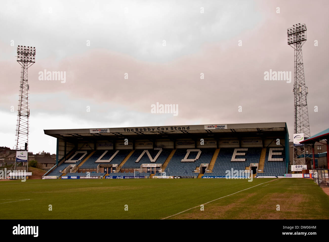 Bobby Cox Stands at Dens Park was named after him when he was inducted into the Dundee F.C. Hall of Fame in 2009 Stock Photo