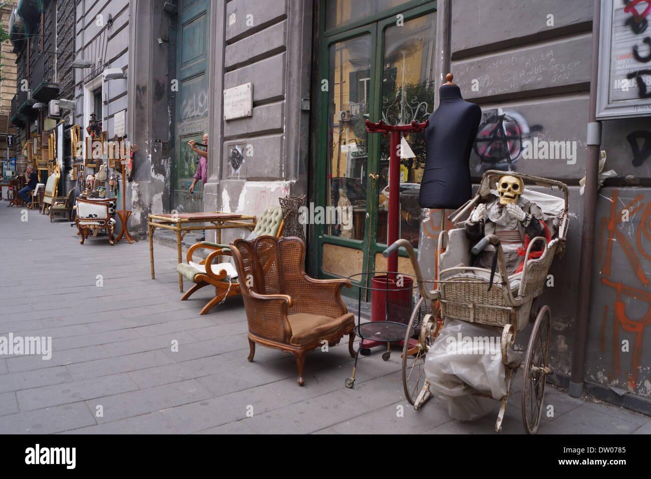 antique shop naples,italy - Stock Image
