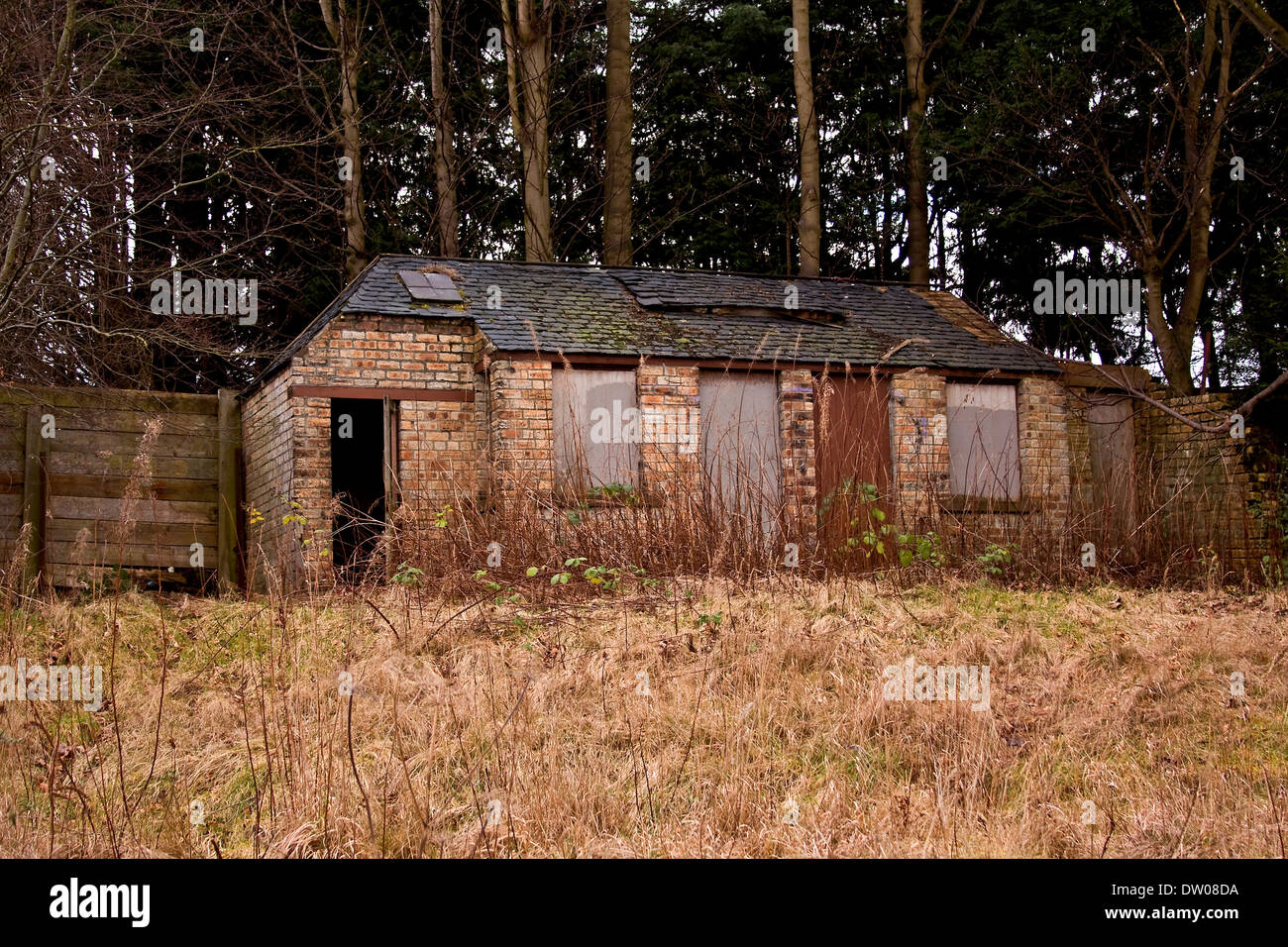 Old derelict building was an annex to the 1800`s Lochee Railway Station in Dundee, UK - Stock Image