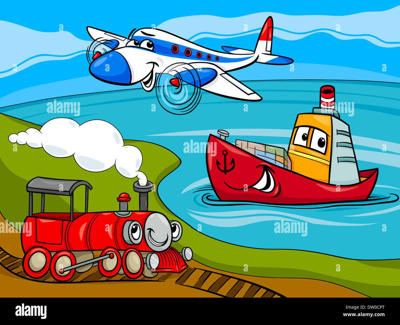 Cartoon Illustration Of Funny Plane And Train And Ship