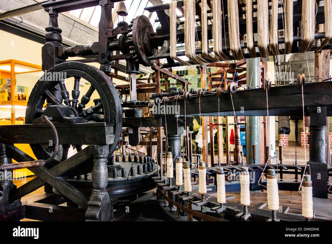 Old flax twine mill / wooden yarn twisting machine from 1789 at MIAT, industrial archaeology museum, Ghent, Belgium - Stock Image