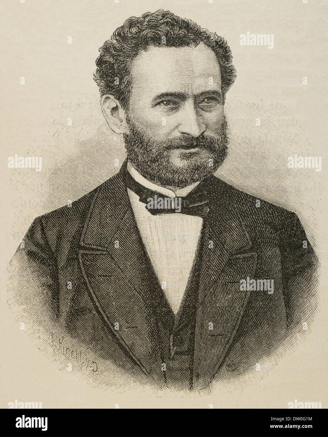 Eduard Lasker (1829-1884). German politician and jurist. Portrait. Engraving. - Stock Image