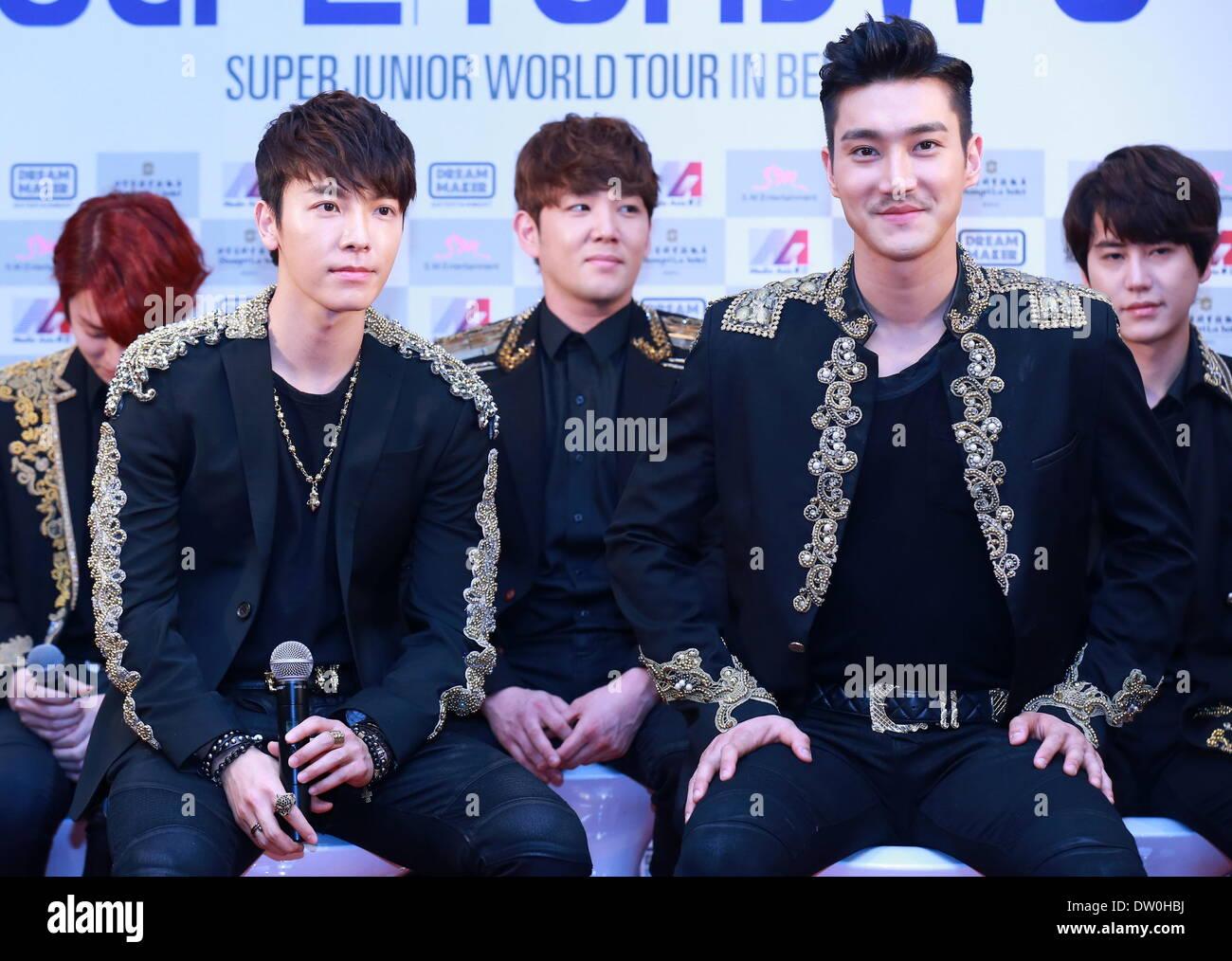 Beijing, China  22nd Feb, 2014  South Korean boy band Super Junior