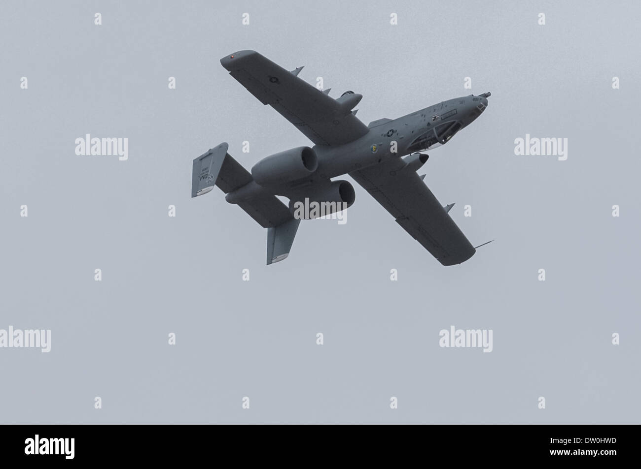 March 17, 2007 - Tucson, Arizona, United States of America - An A-10 aircraft flies inverted over the runway at Davis-Monthan AFB in Tucson, Ariz. in this 2007 file photo. Davis-Monthan is home to the 355th Wing, which supports the A-10. The Pentagon announced yesterday plans to retire the A-10 as a cost-cutting measure to prepare for eventual delivery of the F-35 multipurpose fighter. The A-10 has served since late in the Vietnam War through contemporary fighting in Afghanistan and Iraq. The aircraft is generally praised by pilots and service crews for its survivability and performance. ( - Stock Image