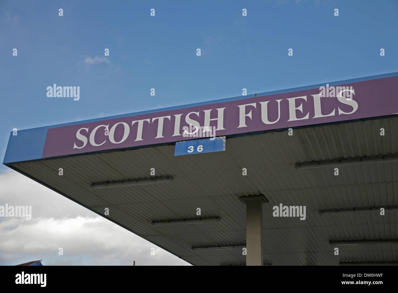 Carrbridge,uk,25th February 2014,Scottish fuels sign in Carrbridge Scotland ©Keith Larby Stock Photo