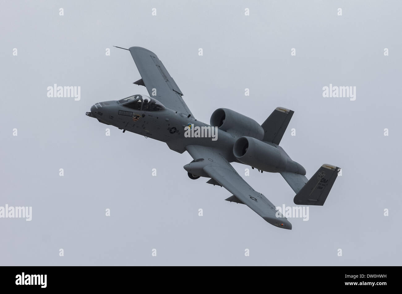 March 17, 2007 - Tucson, Arizona, United States of America - An A-10 aircraft flies over the runway at Davis-Monthan AFB in Tucson, Ariz. in this 2007 file photo. Davis-Monthan is home to the 355th Wing, which supports the A-10. The Pentagon announced yesterday plans to retire the A-10 as a cost-cutting measure to prepare for eventual delivery of the F-35 multipurpose fighter. The A-10 has served since late in the Vietnam War through contemporary fighting in Afghanistan and Iraq. The aircraft is generally praised by pilots and service crews for its survivability and performance. (Credit Im - Stock Image