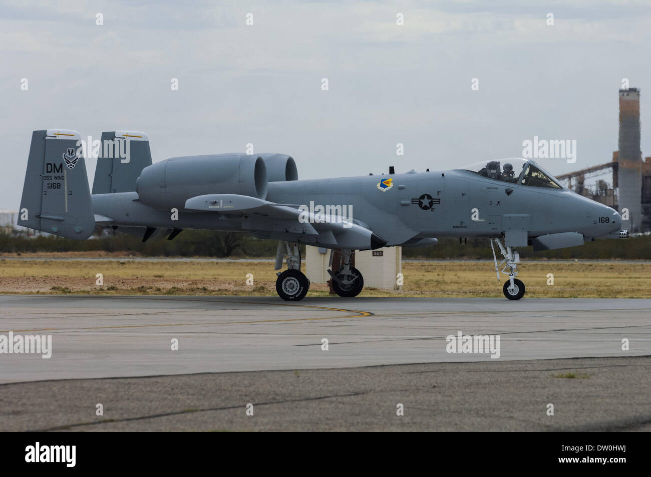 March 17, 2007 - Tucson, Arizona, United States of America - An A-10 aircraft taxis on the runway at Davis-Monthan AFB in Tucson, Ariz. in this 2007 file photo. Davis-Monthan is home to the 355th Wing, which supports the A-10. The Pentagon announced yesterday plans to retire the A-10 as a cost-cutting measure to prepare for eventual delivery of the F-35 multipurpose fighter. The A-10 has served since late in the Vietnam War through contemporary fighting in Afghanistan and Iraq. The aircraft is generally praised by pilots and service crews for its survivability and performance. (Credit Imag - Stock Image