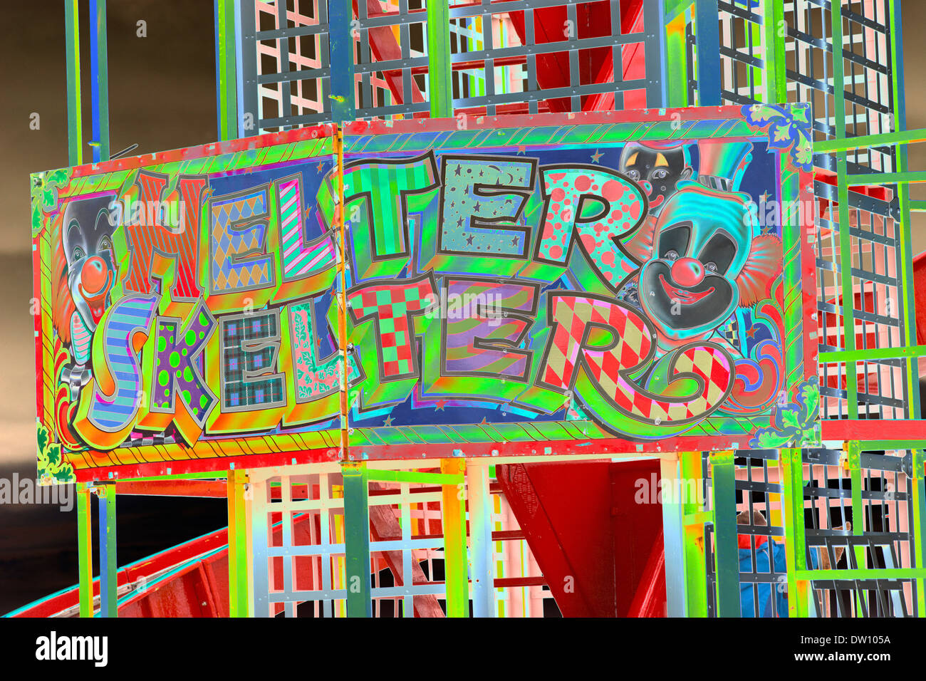 Close up of Helter Skelter sign at fairground - Stock Image