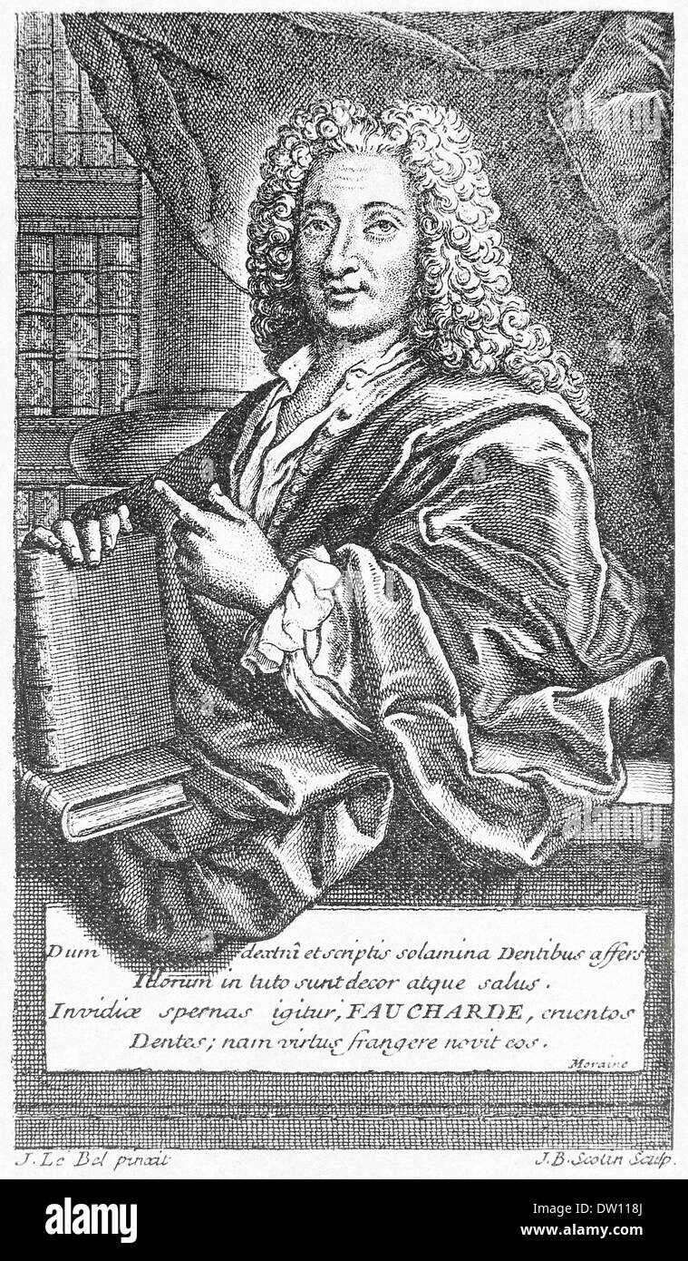 Pierre Fauchard (1678-1761) French physician and dentist. Portrait from his  revolutionary book Treatise on the Teeth 1728. - Stock Image