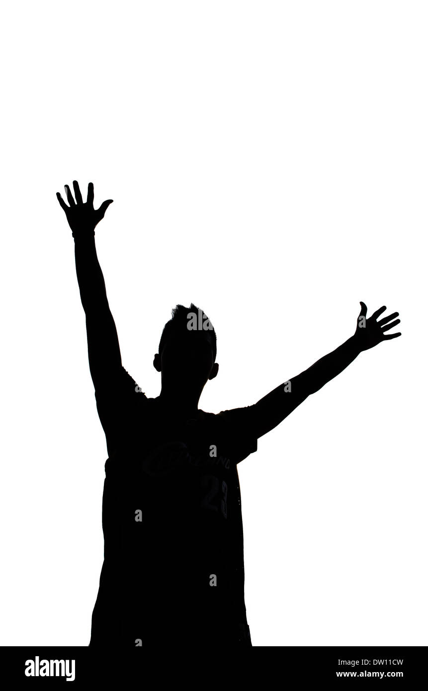 man jumping together,silhouette - Stock Image