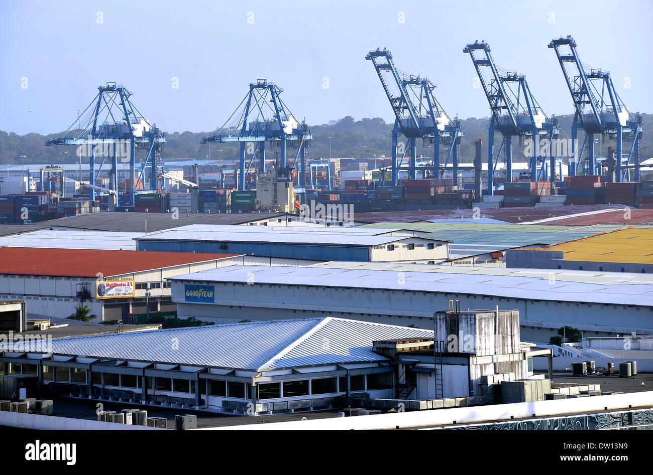 Zona libre of Colon and port Colon Republic of Panama - Stock Image