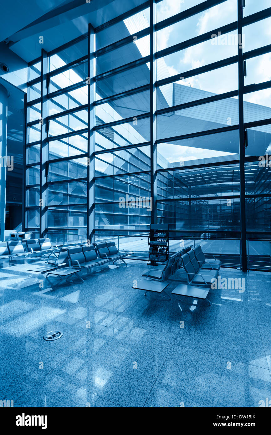 glass curtain wall with chair Stock Photo