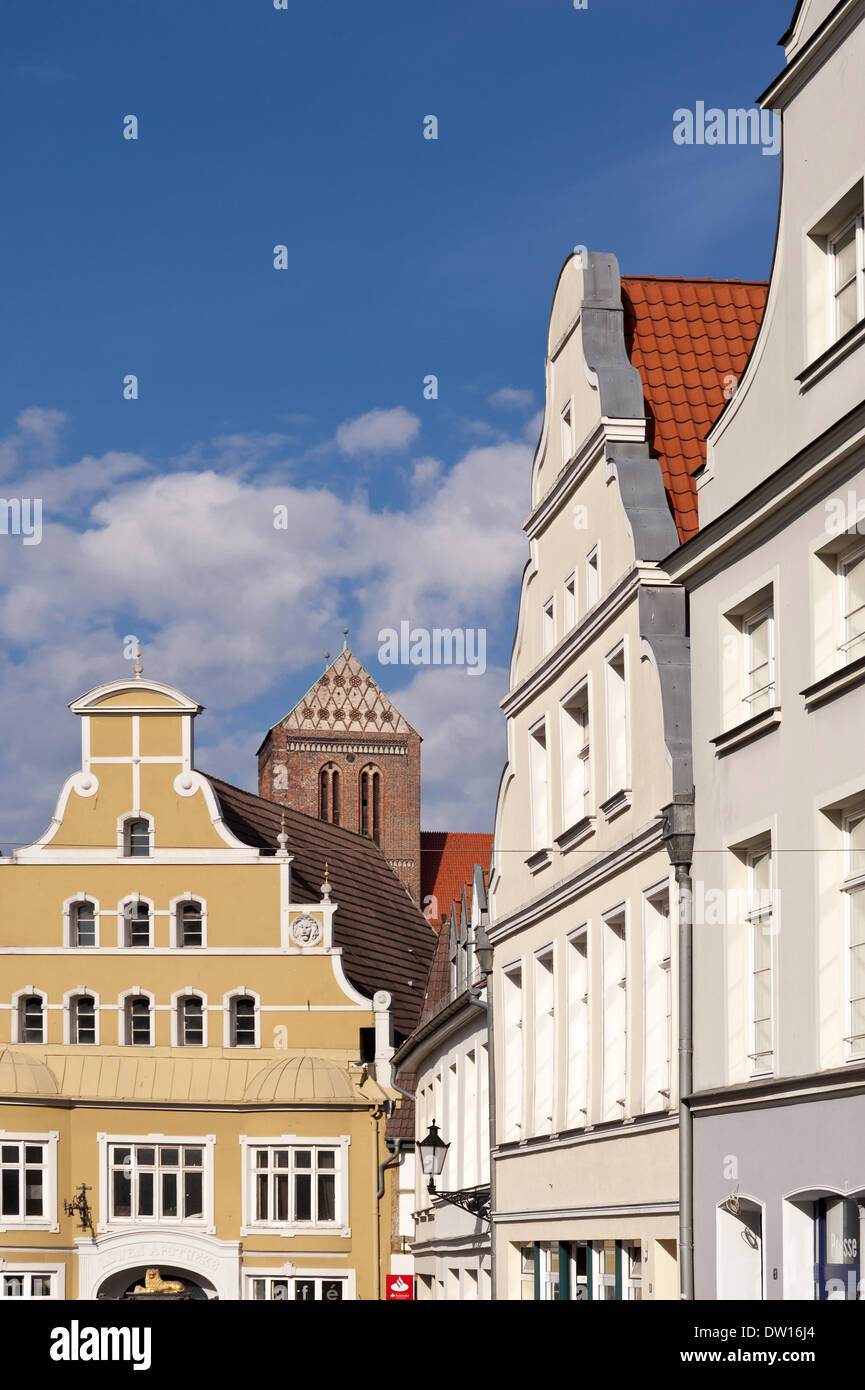 Old town of Wismar in Germany - Stock Image