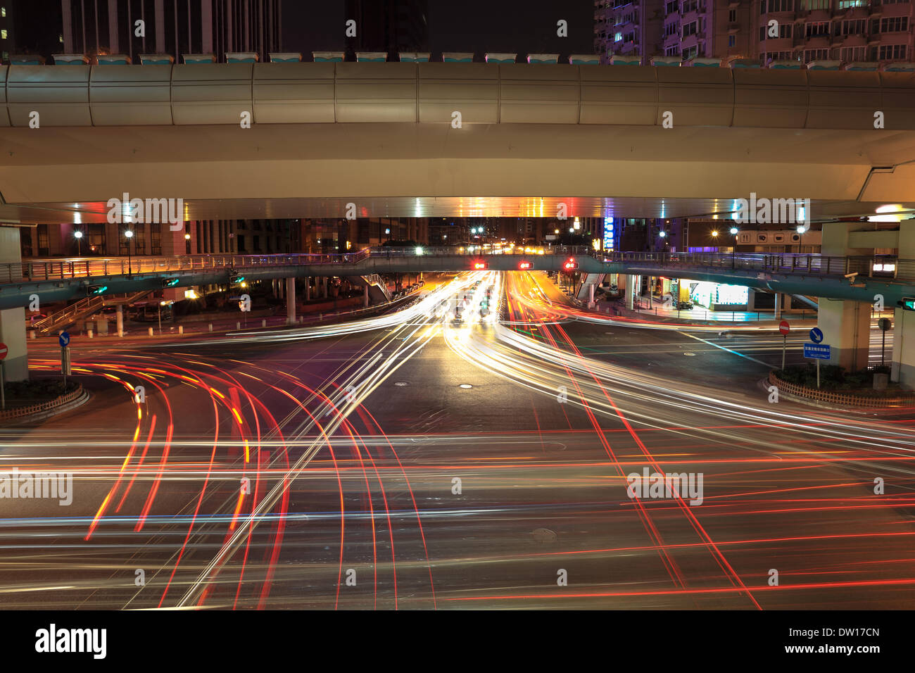 light trails on the crossroads - Stock Image