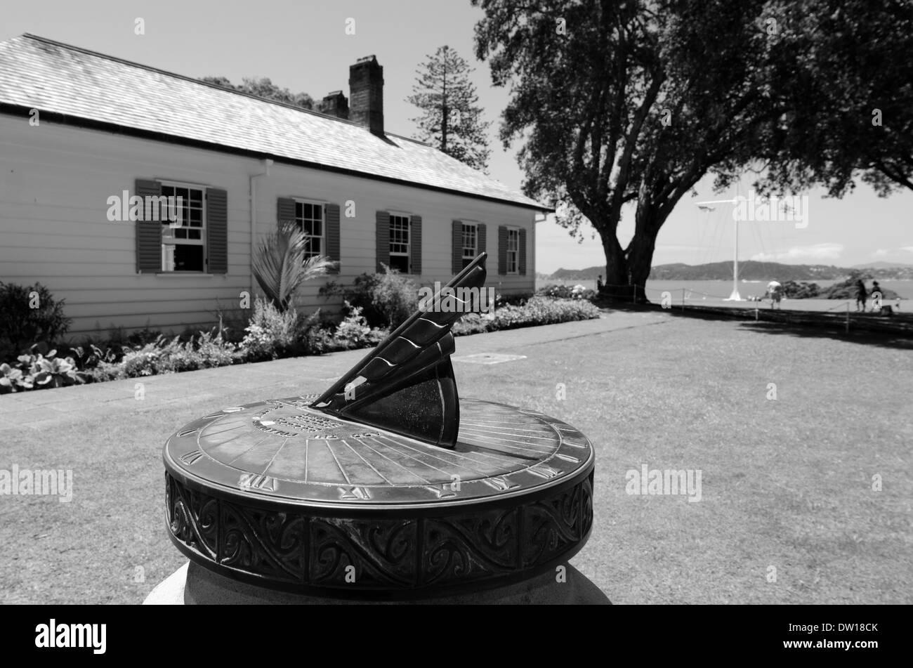 Ancient sun clock at the Treaty House in Waitangi National Reserve, New Zealand - Stock Image