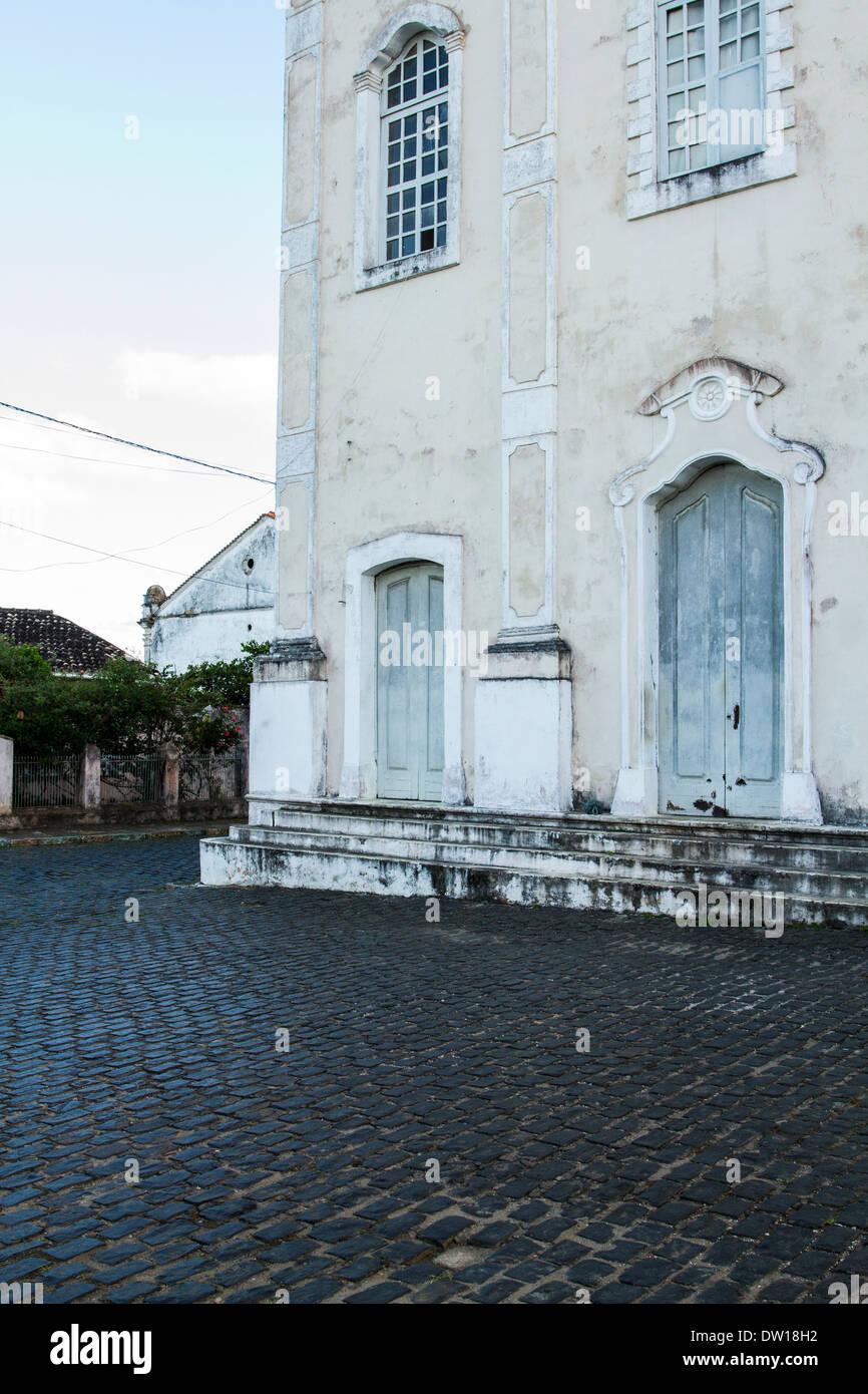 Detail of Nossa Senhora da Assuncao Mother Church facade. Camamu, Bahia, Brazil. - Stock Image