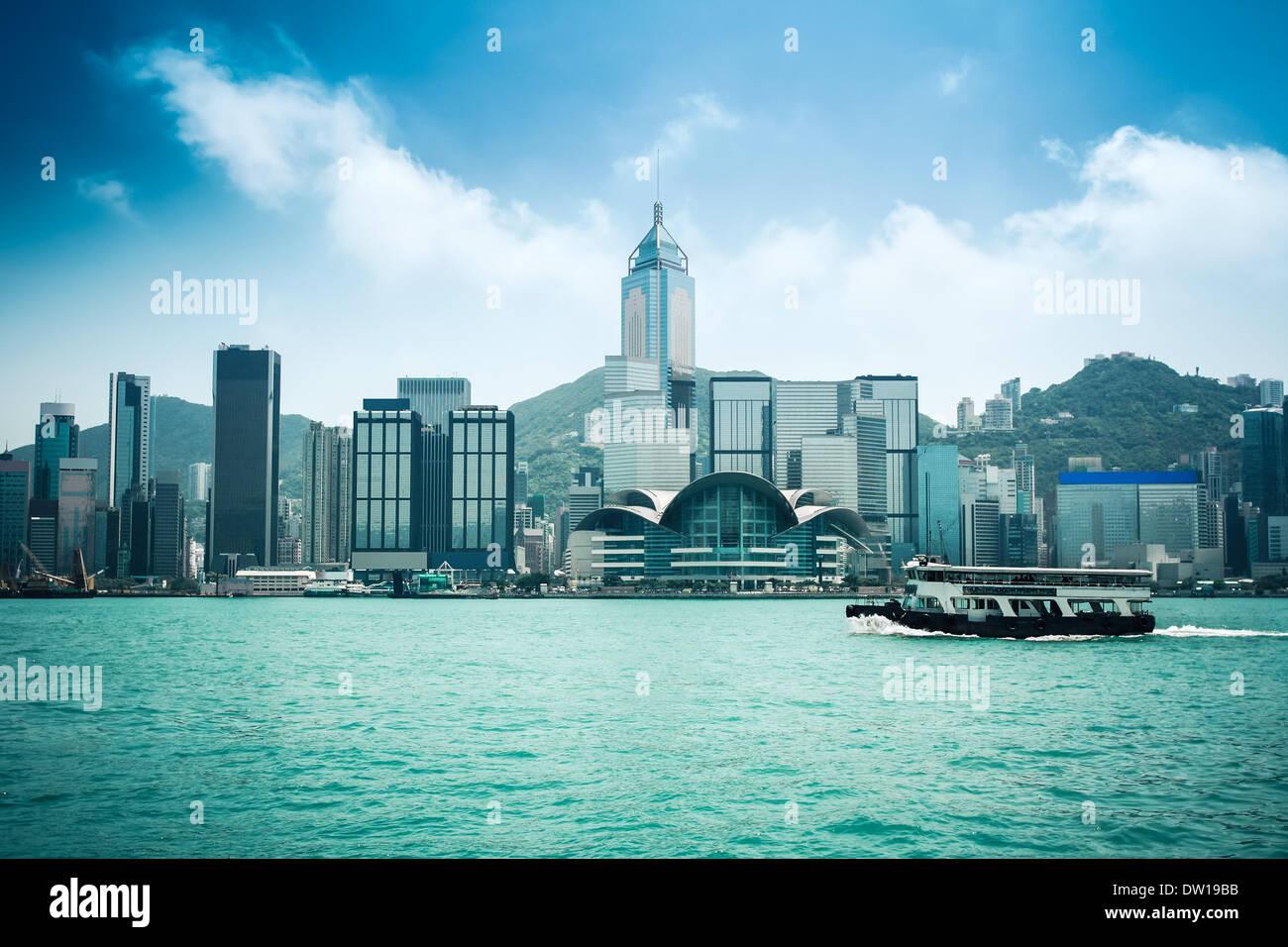 hongkong skyline with ferryboat - Stock Image