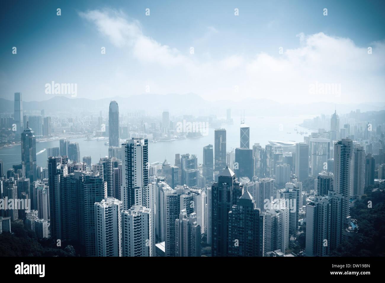 aerial view of beautiful hongkong - Stock Image