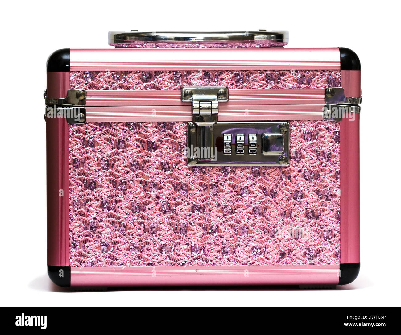 pink safe box with padlock Stock Photo