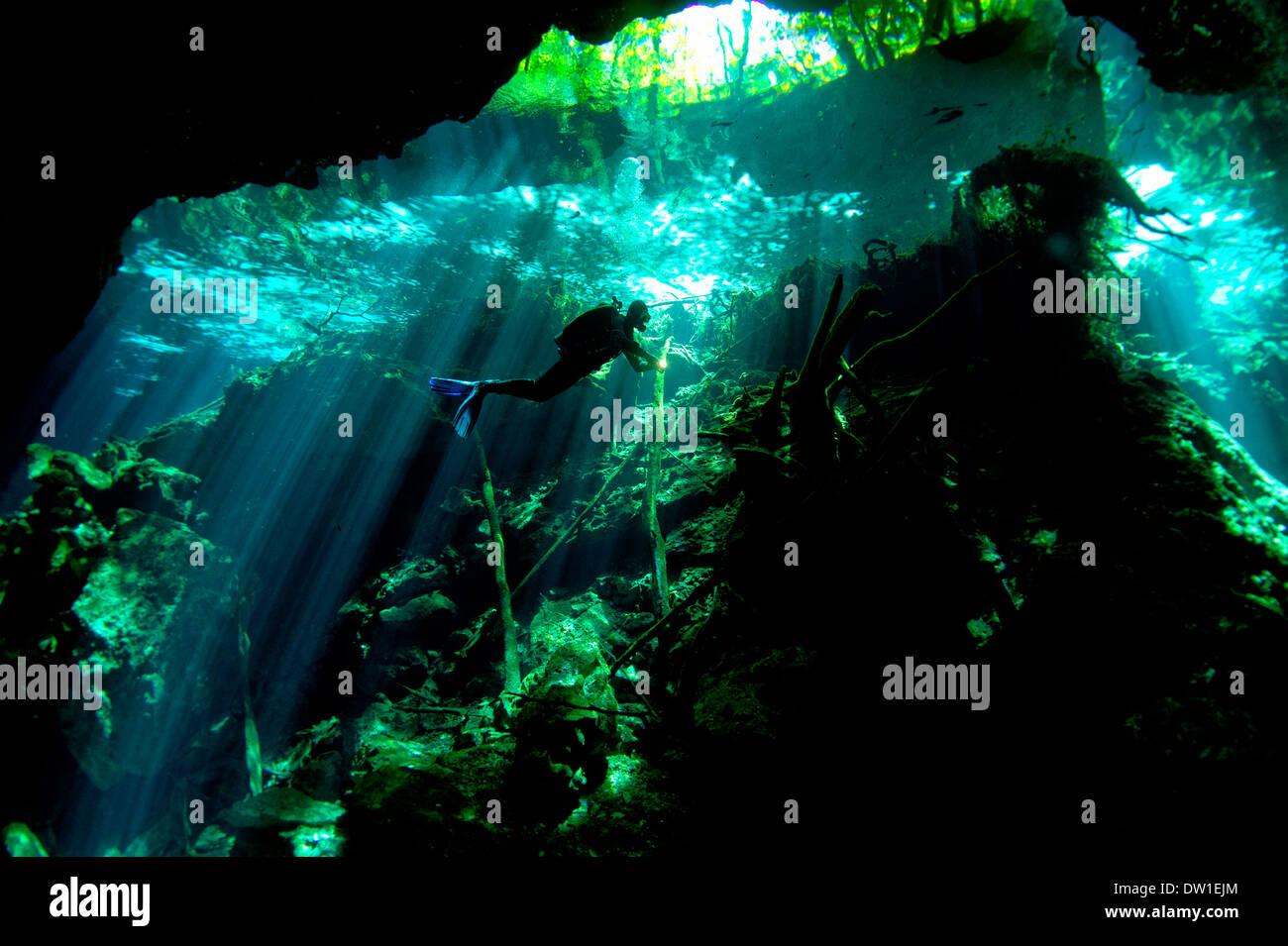 Scuba diver swimming thru the underwater Chac Mool Cenote cave, Yucatan Peninsula, Mexico - Stock Image