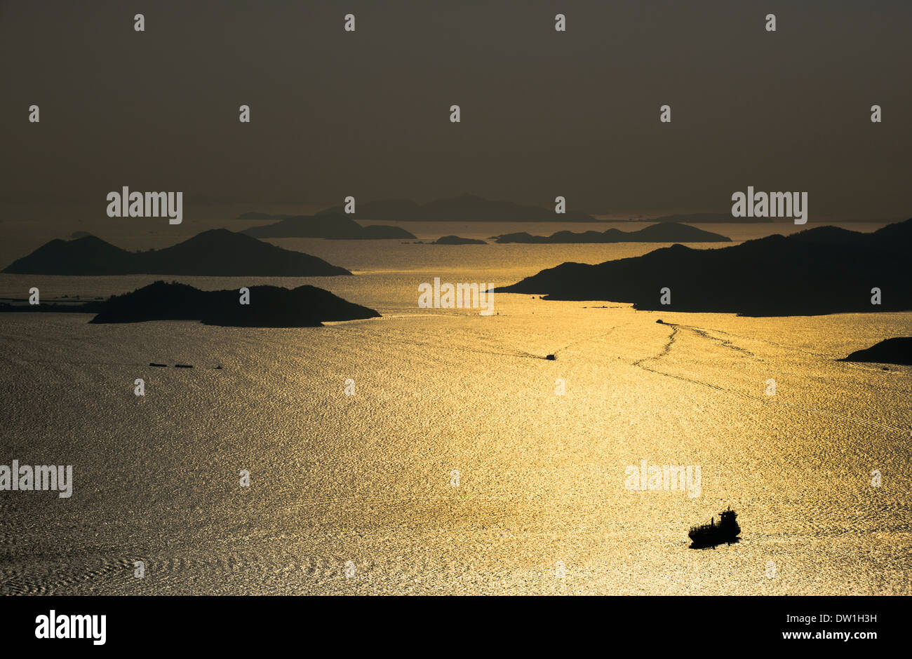A view of the South China Sea and Lantau island as seen from the High West peak on Hong Kong island. - Stock Image