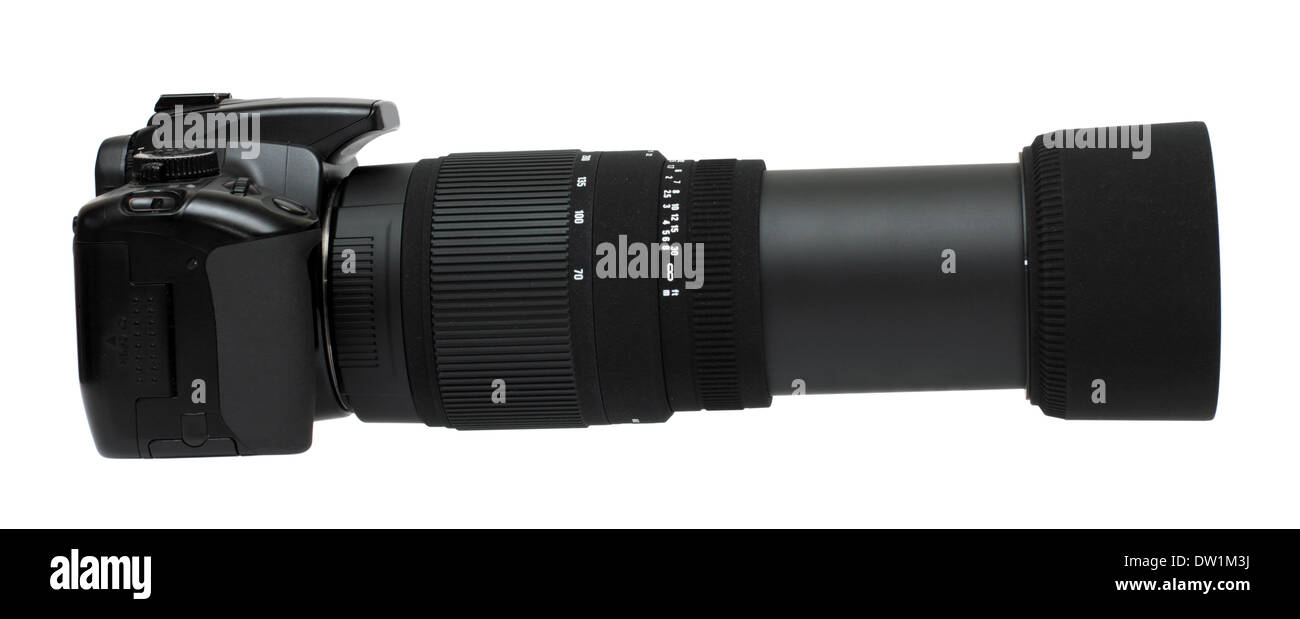 camera with telephoto zoom lens - Stock Image